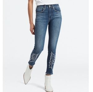 Levi's 721 high rise skinny ankle embroidery jeans